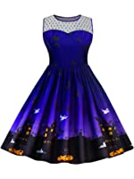 CharMma Women's Vintage Plus Size Illusion Neck Sleeveless Halloween Swing Dress