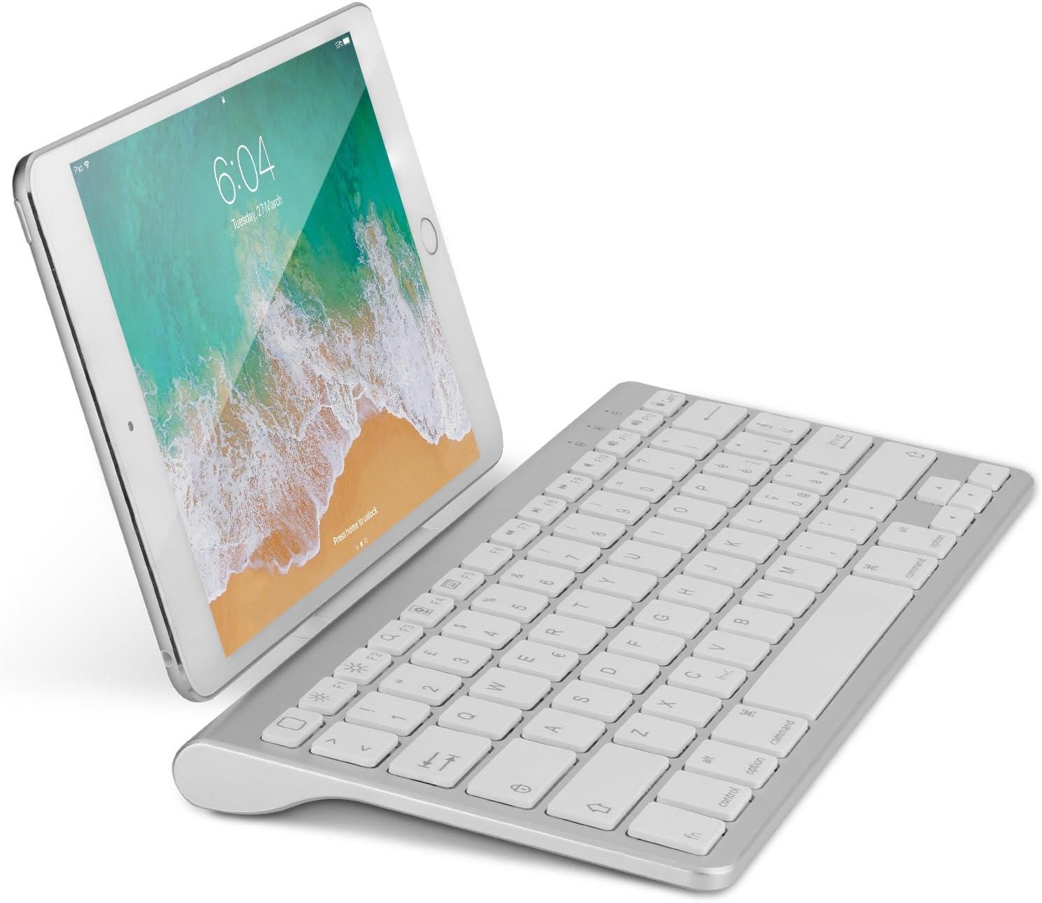 OMOTON Bluetooth Teclado Español con Soporte, Compatible con iPad 10.2, 9.7, iPad Pro 11 2020 2018, 10.5, iPad Air y Toda iOS Sistema, No Sirve para Sistema de Mac - Blanco
