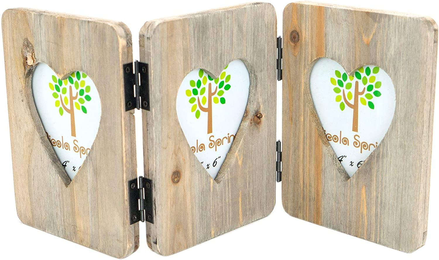 Nicola Spring Wooden 3 Photo Triple Hanging Heart Shaped Freestanding Multi Picture Photo Frame - 4 x 6
