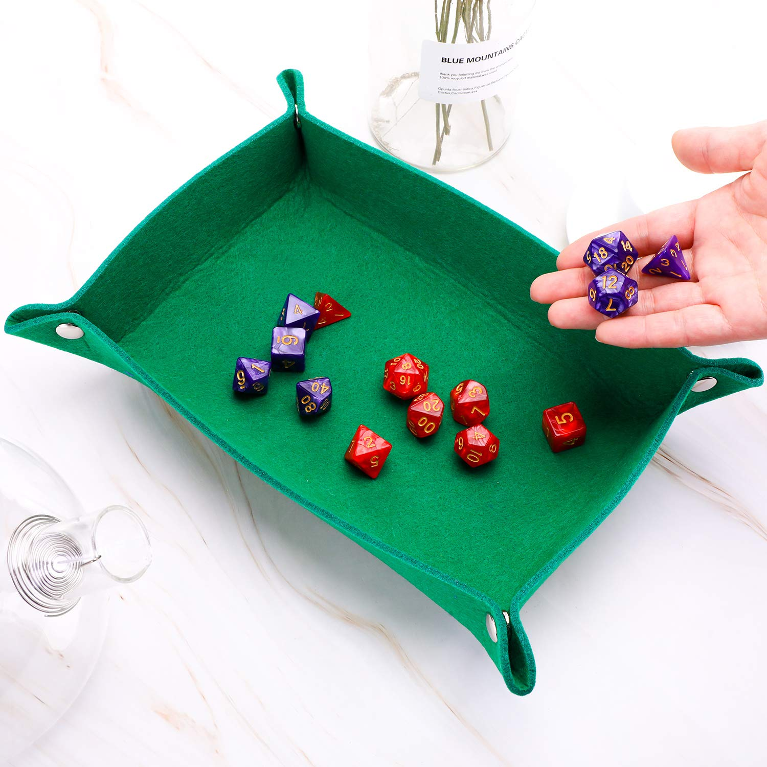 5 Colors Zhanmai 5 Pieces Dice Tray Felt Folding Rectangle Dice Holder for RPG DND Dice Games Storage