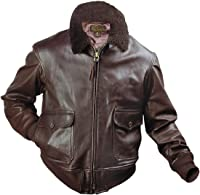 US Wings U.S. Navy Brown Goatskin G-1 Leather Bomber Jacket at