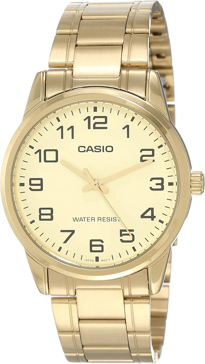 Casio MTP-V001G-9B Men s Standard Gold Tone Stainless Steel Easy Reader Watch