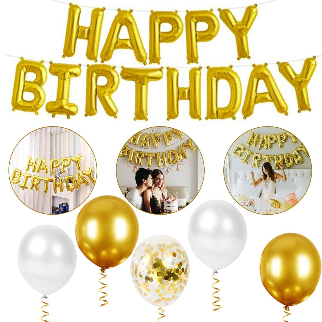 Happy Birthday Balloons Gold Banner O-Kinee Gold Birthday Party Decorations for Women Men Gold Balloon Kit for Women Men Birthday Anniversary Party Supplies