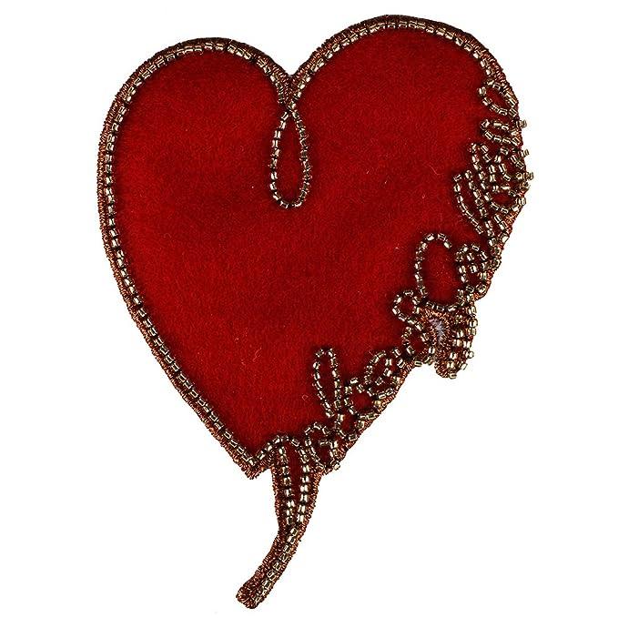 2pieces corazón de cuentas tela parches Applique insignias ...