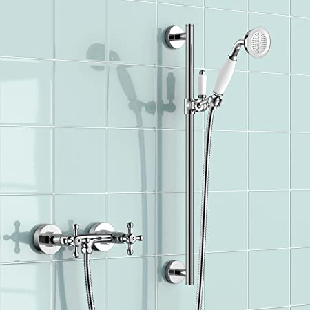 Shower Hot And Cold Valve.Ibathuk Traditional Chrome Shower Hot Cold Mixer Valve Riser Rail Handset Head Set