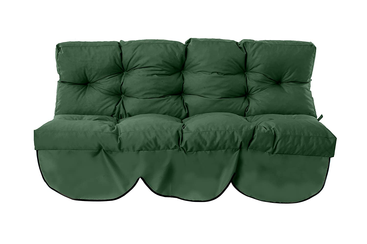 Gardenista Outdoor Garden 2 Seater Swing Cushion in Water Resistant Fabric Ties. Made in the UK. 150x50x7cm - Green.