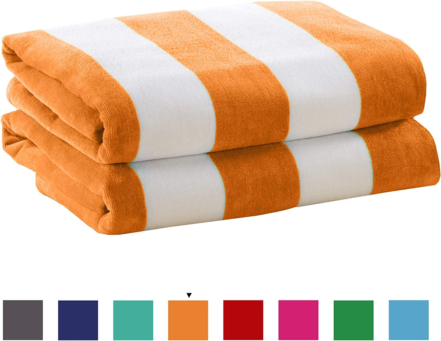 Great Bay Home 2 Pack Plush Velour 100/% Cotton Beach Towels Cabana Stripe Pool Towels for Adults. Air Blue, 2 Pack- 30 x 60
