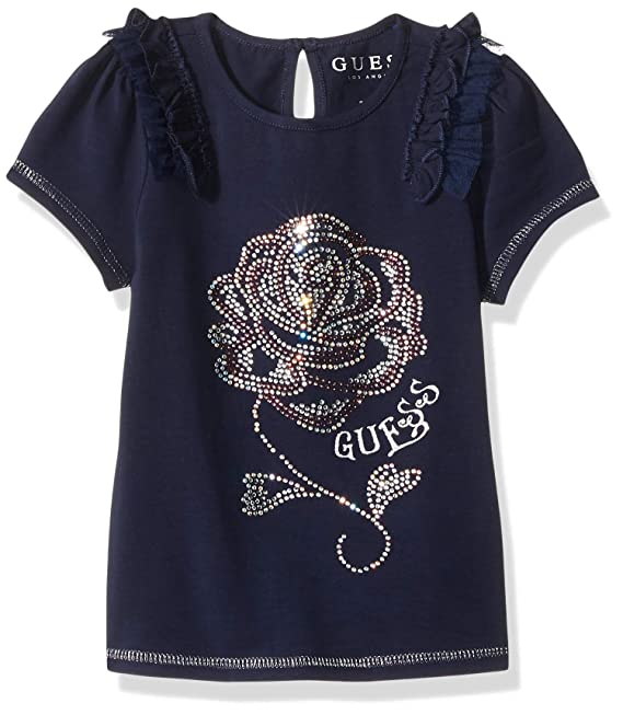 GUESS Girls' Little Short Sleeve Bling Rose Mini Ruffle T-Shirt, Fancy Blue, 3