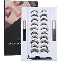 Manyetik Sıvı Eyeliner ile Manyetik Yanlış Kirpik Seti ve 10 Çift Manyetik Yanlış Eyelashes Siyah Manyetik Sahte…