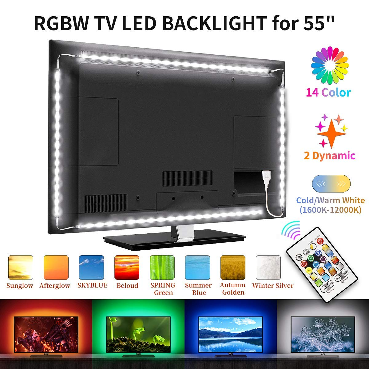 Bason TV LED Backlight, RGBW TV Light Strip for 55'' TV, RGB Upgrade 11.29ft TV Lights, USB TV Bias Lighting with Remote, Color Changing Lights for Entertainment Center Room Decor, Home Movie Theater.