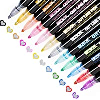 Double Line Outline Pens, Whaline 12 Colors Self-Outline Metallic Markers Glitter Writing Drawing Pens Stationery for…