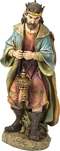 Joseph s Studio by Roman – Colored King Gaspar Figure for 27 Scale Nativity Collection, 25.75 H, Resin and Stone, Decorative, Collection, Durable, Long Lasting