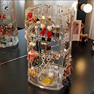 360 Degree Rotating Earring Holder,Earring and Jewelry Organizer Rotating 4 Tiers Jewelry Display Rack