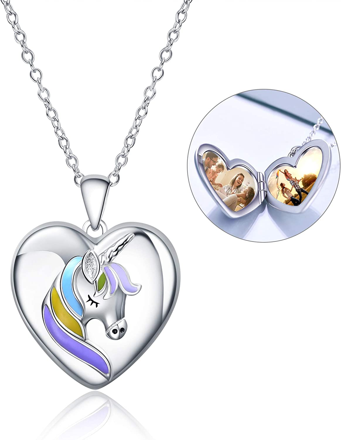 WINNICACA Sterling Silver Heart Lockets Necklace That Holds Pictures for Women Girls Photo Necklace for Birthday