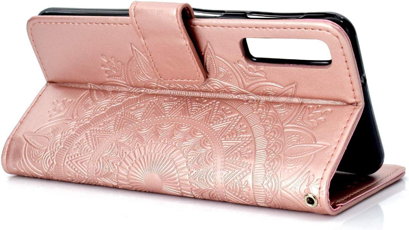 Saceebe kompatibel mit Galaxy A50 H/ülle Leder Flip Case Ledertasche Totem gepr/ägte Ledertasche mit Lanyard Leder Lanyard Handyh/ülle Schutz kratzfest sto/ßfest Schutzh/ülle,Brown