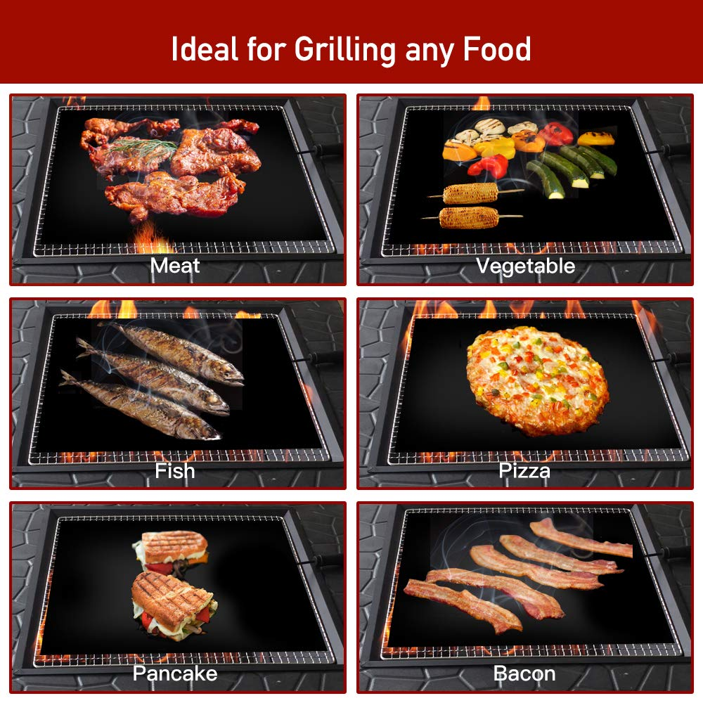 """Sonkir Grill Mats, Set of 6 Heavy Duty GM01 Grill Mats 2 Silicone Basting Brushes, Non-stick FDA Approved BBQ Baking Mats (15.75 x 13 """") - Black"""