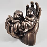 1 x Beautiful Twin babies in life Sized Hands Bronze statue – New Twin Baby Gift Idea.