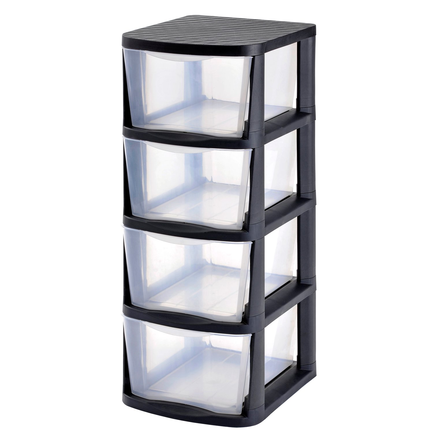 Muscle Rack PDT4-2PK 4 Drawer Clear Plastic Storage Tower with Black Frame (Pack of 2)
