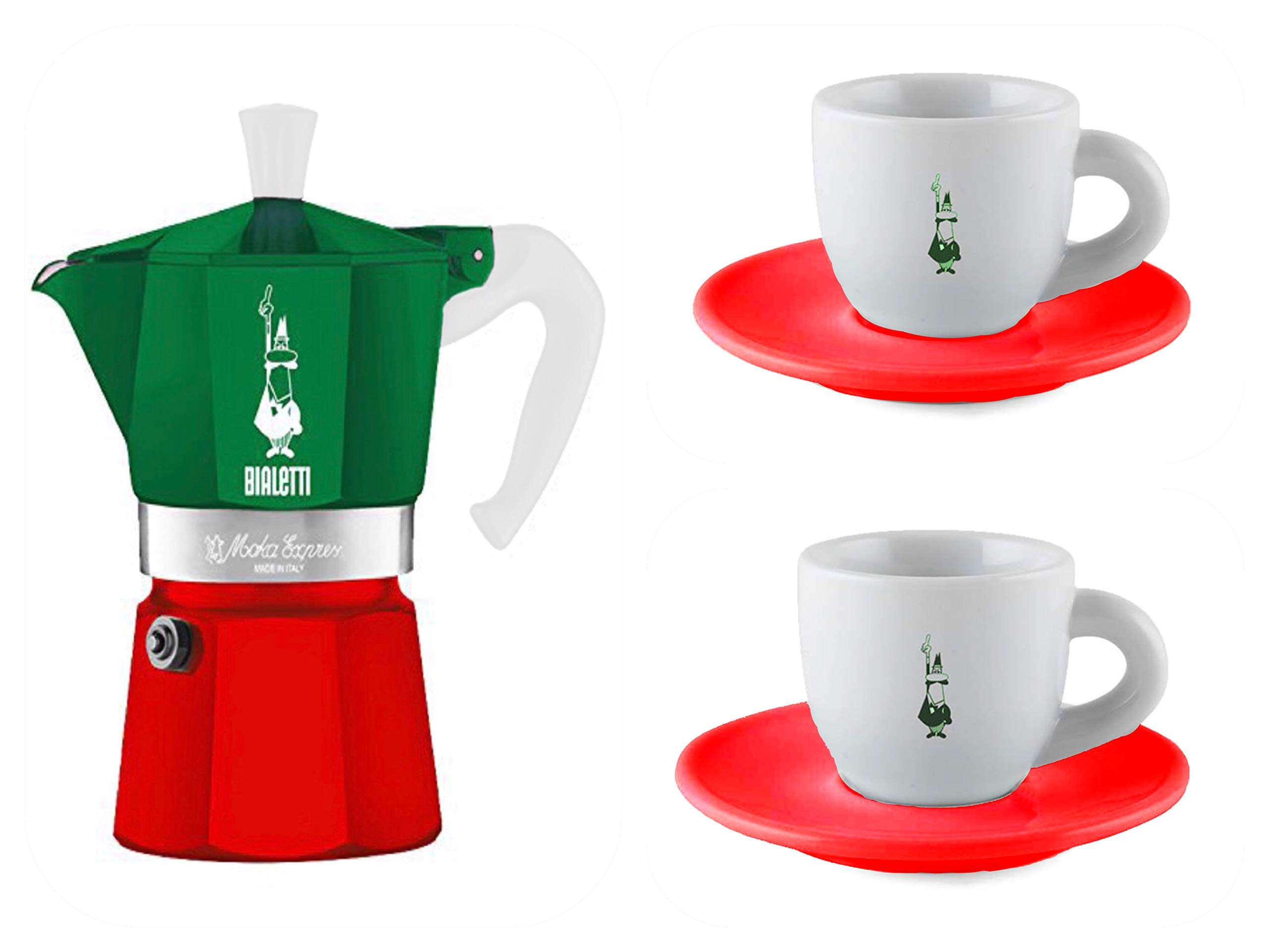 Bialetti 2-Cup Moka Express Italy Flag(Tricolor) Gift Set (2 Espresso Cups/Saucers Included) Limited Edition