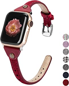 Wearlizer Compatible with Apple Watch Bands 42mm 44mm Woven Canvas Womens Slim Fabric Cloth Wristband Feminine Thick Thin Skinny Classic Durable Strap for iWatch SE Series 6 5 4 3 2 1-Red