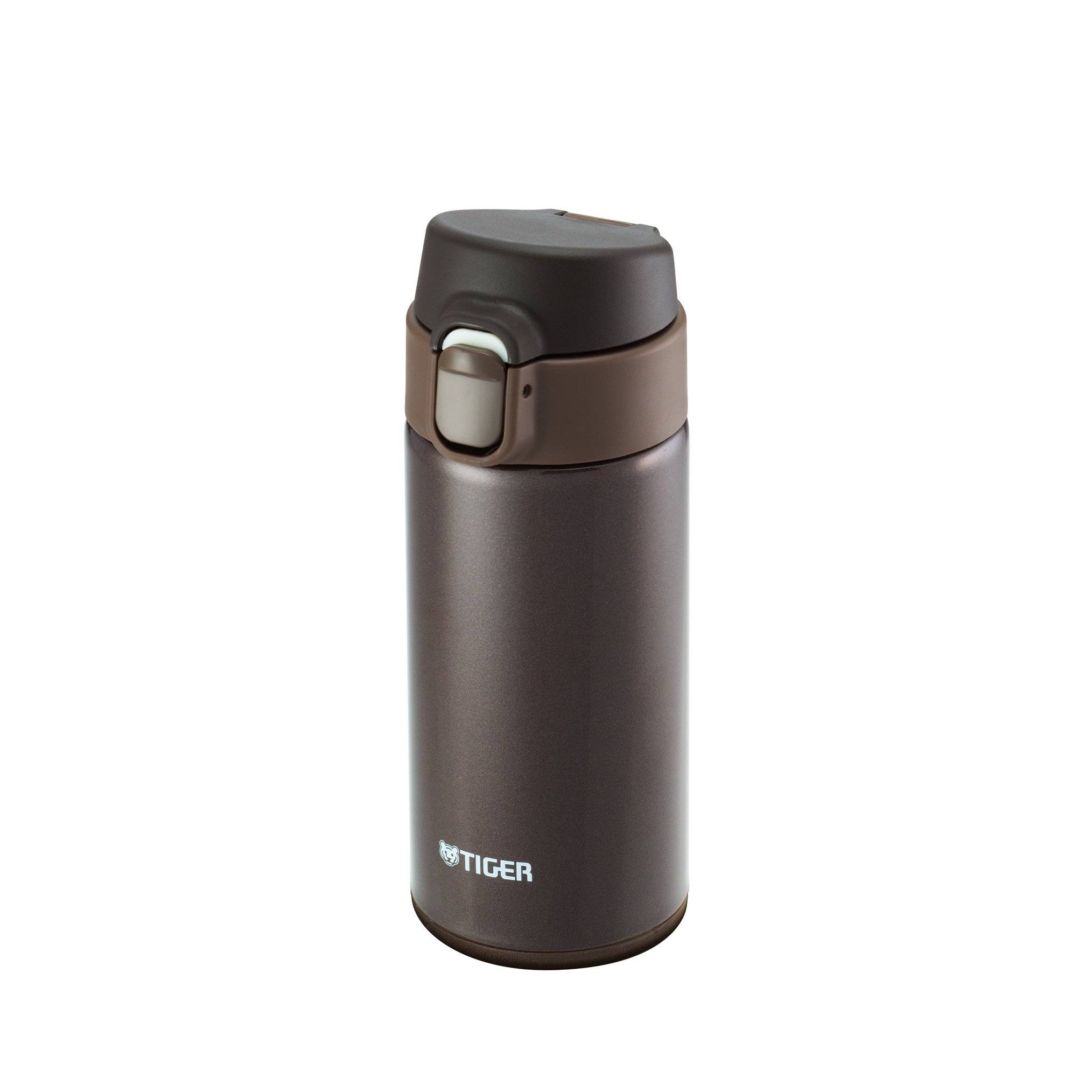 Tiger MMY-A036 TV Vacuum Insulated Stainless Steel Travel Mug, Double Wall, Flip Open Lid with Lock Button, 12 Oz/0.36 L, Brown