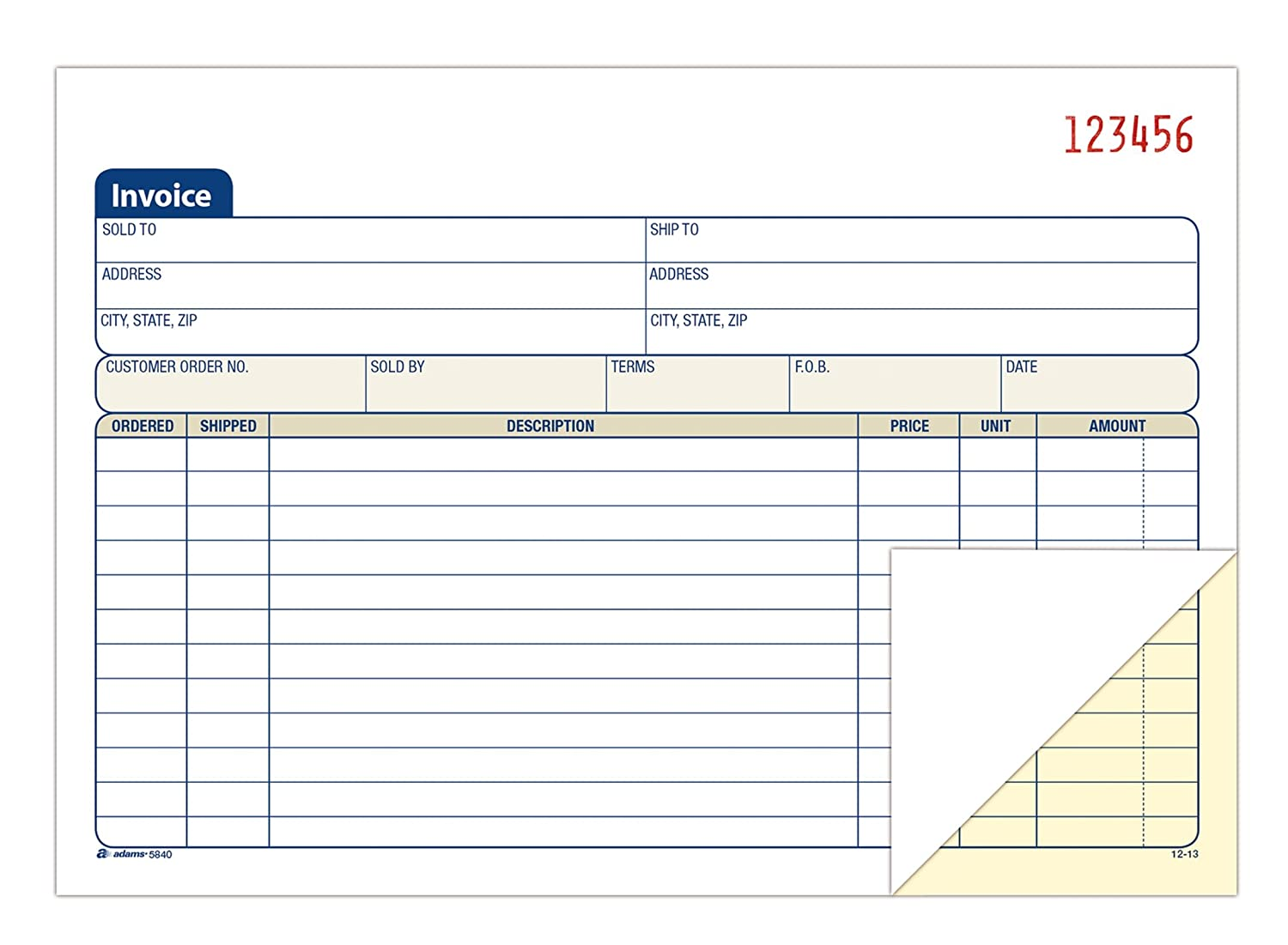 com adams invoice book part carbonless x  com adams invoice book 2 part carbonless 5 9 16 x 8 7 16 inches 50 sets per book dc5840 blank purchase order forms office products