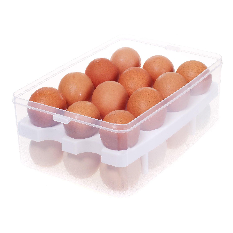 grande capienza Organizer Scatola con manico uovo contenitore Blu TKD6101-blue TUKA portatile contenitore da 24 uova con chiusura a clip doppio strato per frigorifero cucina all aperto