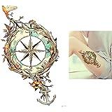 Wasserfarben Aquarell Tattoo Feder Kompass Anker Feder Fake Tattoos