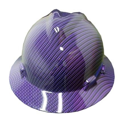Izzo Graphics Purple Carbon Fiber MSA Full Brim Hard Hat