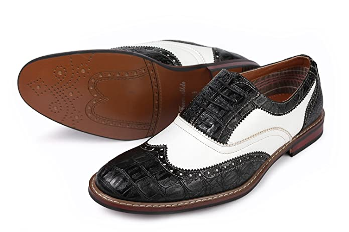 1950s Style Mens Shoes Causal Wingtip Oxfords Modern Spectator Style  AT vintagedancer.com
