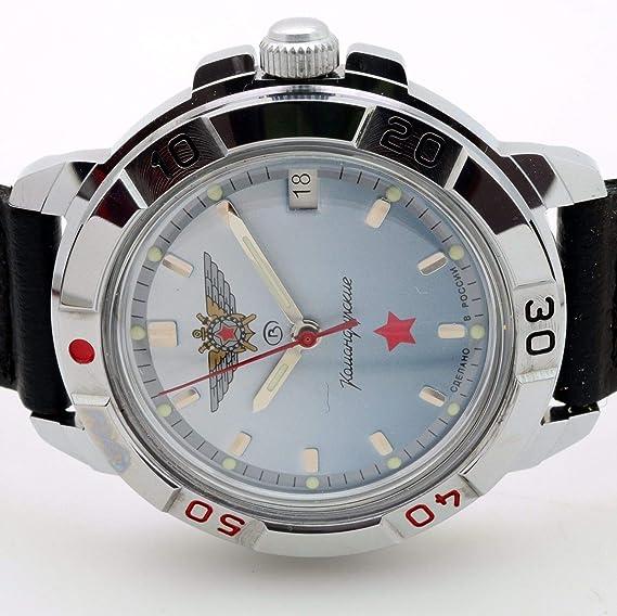 Vostok KOMANDIRSKIE 431290/2414 una especial estrella roja Militar ruso reloj azul