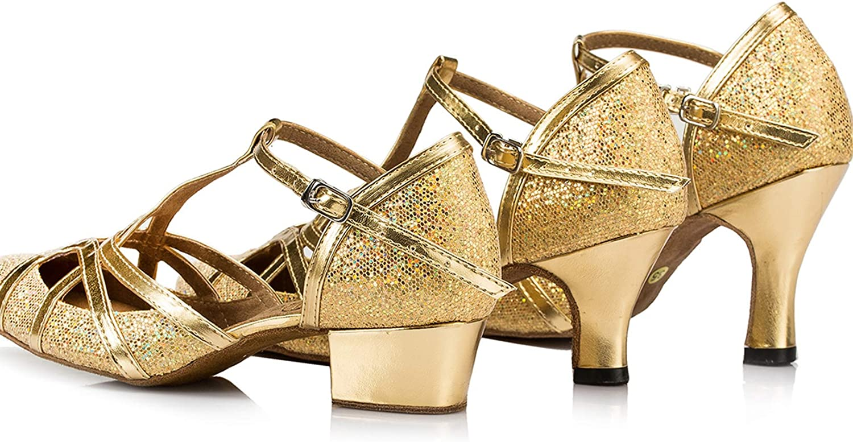 MINITOO Womens Latin Salsa T-Strap Closed Toe Synthetic Ballroom Dance Shoes QJ6133