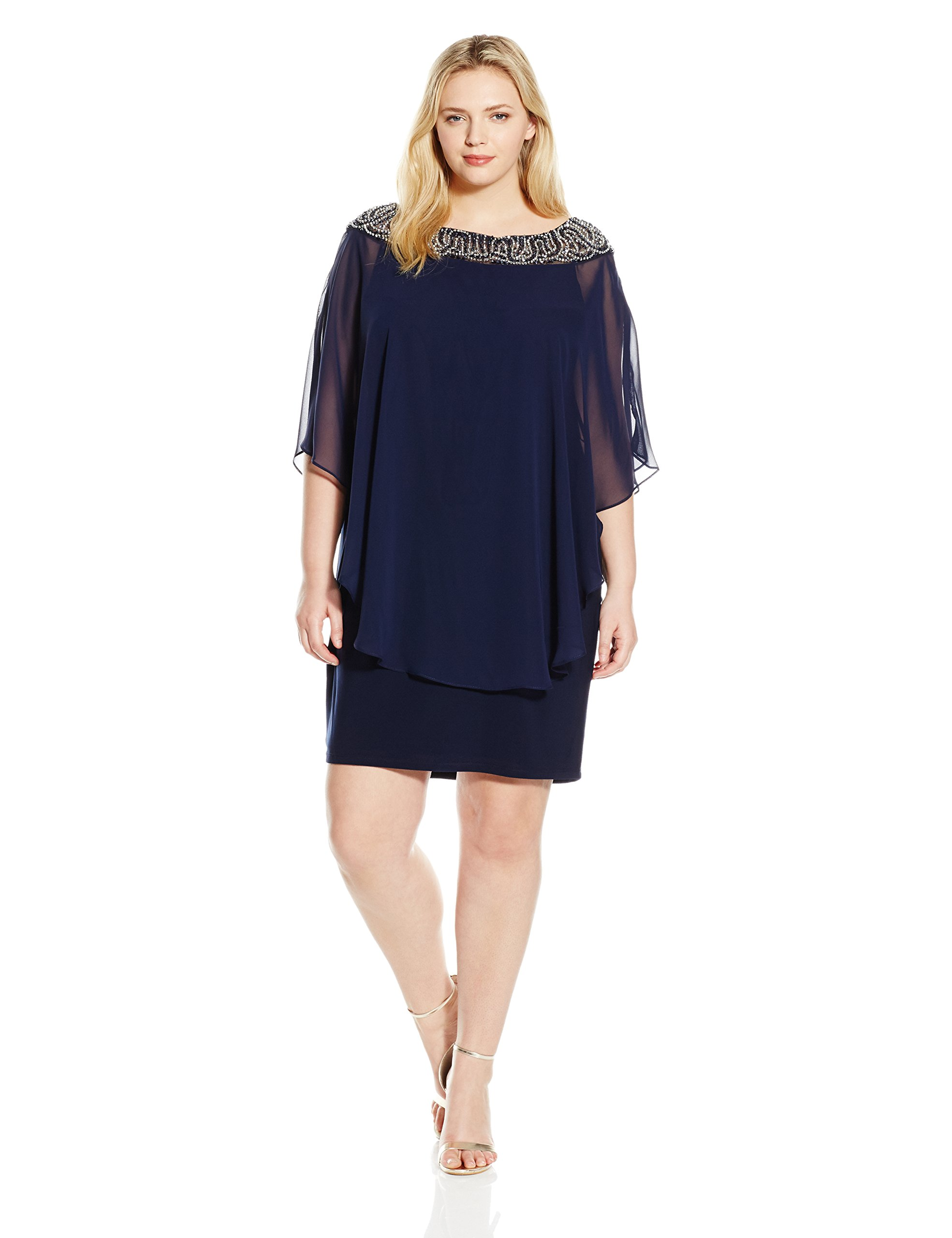 Xscape Women's Plus Size Short Chiffon Overlay W/ Bead Top, Navy/Silver/Navy, 18W