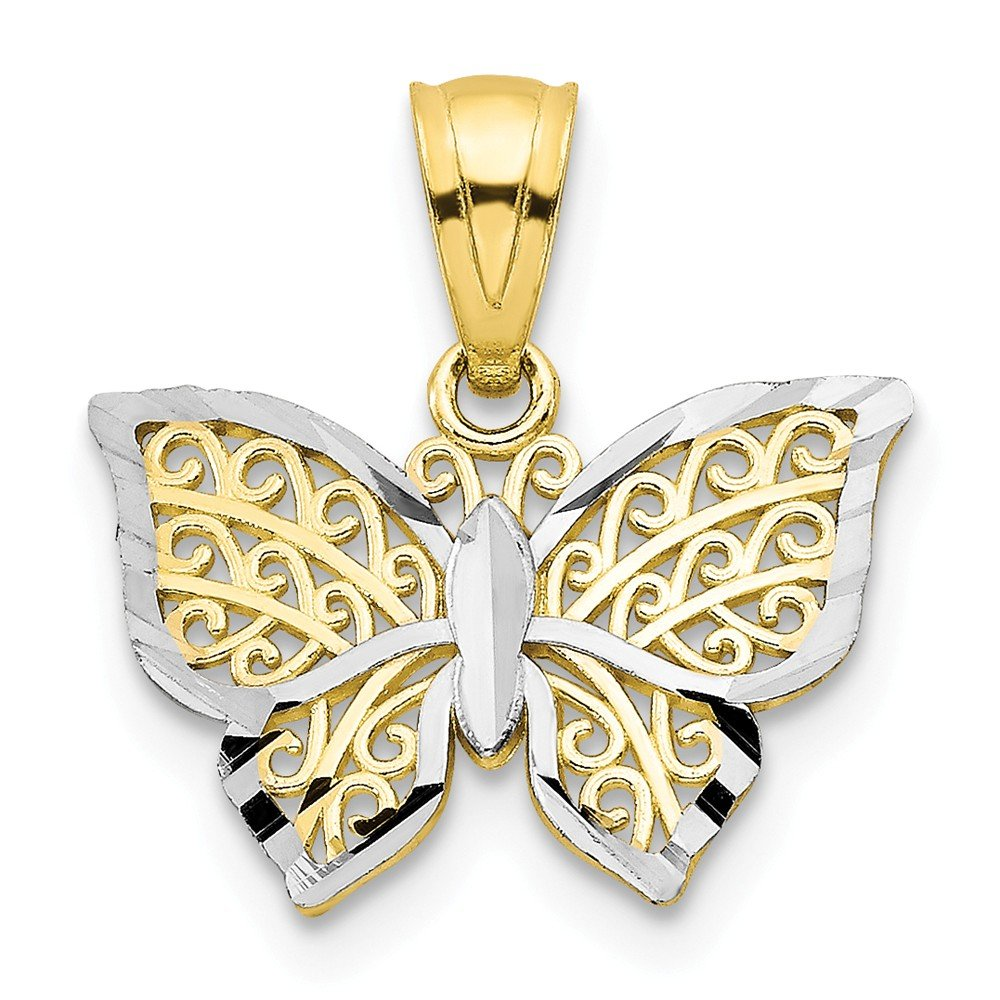 10k Yellow Gold /& Rhodium Plated Butterfly Charm Pendant