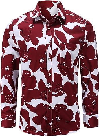 Janduker – Camisa para hombre de manga larga con flores de ...