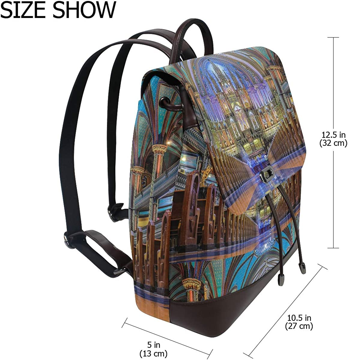 PU Leather Shoulder Bag,Notre Dame De Paris Backpack,Portable Travel School Rucksack,Satchel with Top Handle