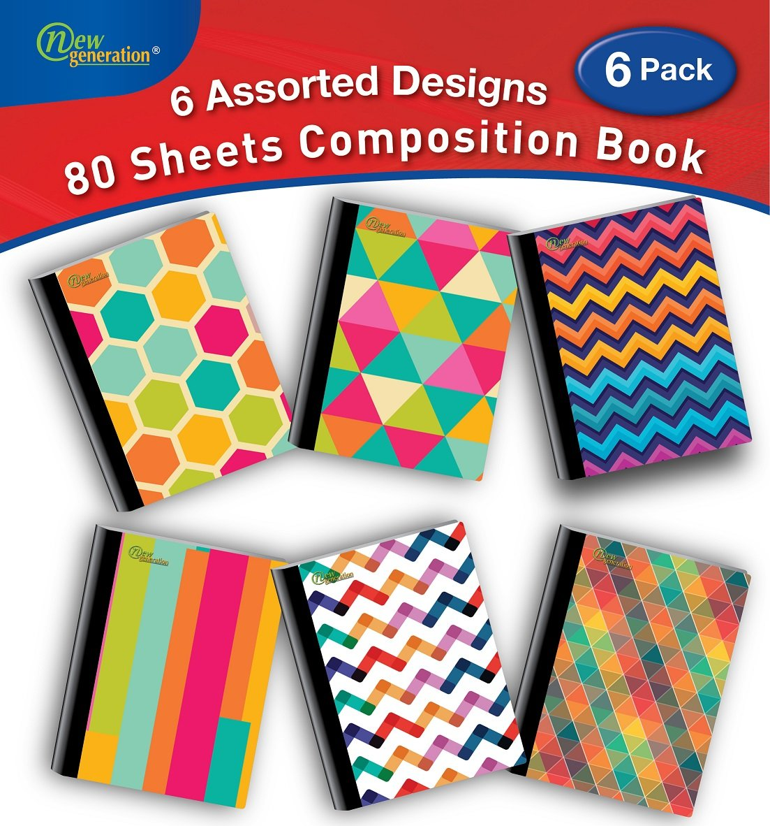 New Generation - Pattern - Composition Book, 6 Pack, 80 Sheets / 160 Pages, 7.5 x 9.75 inches, Heavy Duty Laminated Hard Cover Back to School/Campus Supply. (6 Pack Composition NOTEBOOKS Wide Ruled)