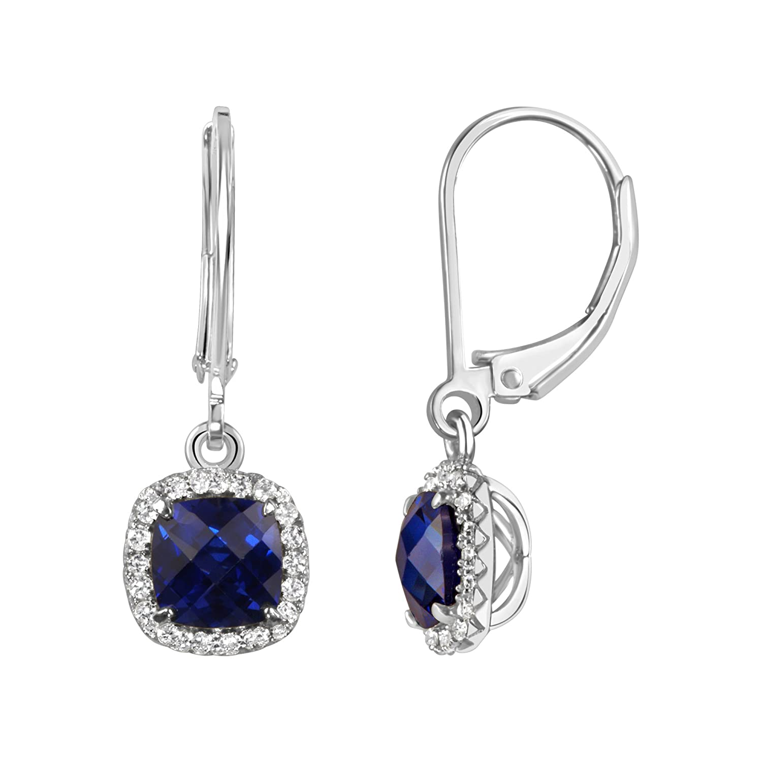 6e3ba3620 Amazon.com: Lab Created Blue Sapphire Earrings in Sterling Silver Cushion  Shape Created White Sapphire Halo: Jewelry