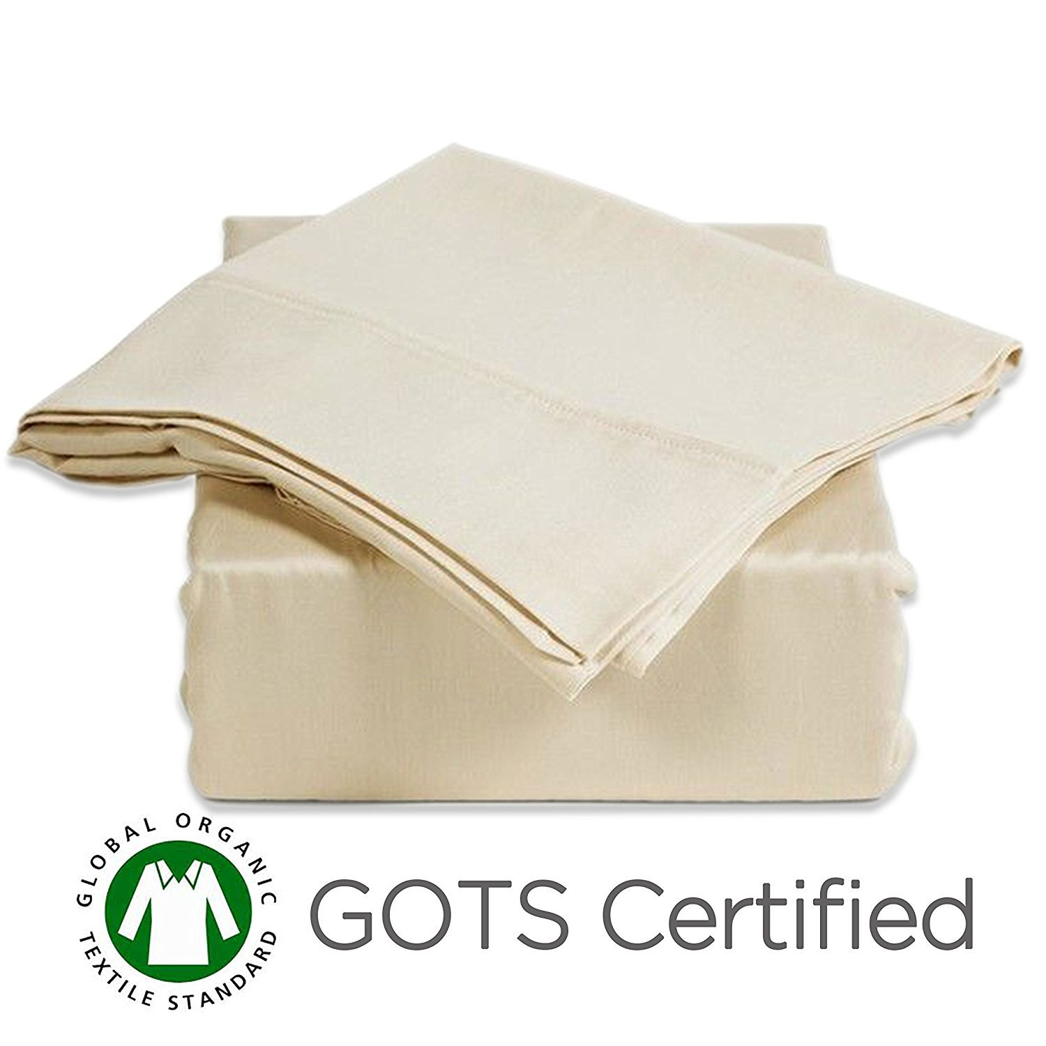 CozyFit Certified Organic 100% Cotton Super Low Profile Luxury Sheet Set For 6'' - 9'' Mattress (King)