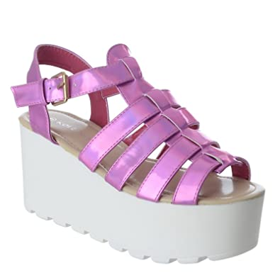 aced003f974a WOMENS LADIES CHUNKY GLADIATOR STRAPPY SANDALS SHOES PLATFORM FLATFORM  WEDGES SIZE (UK 7