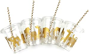 Gold Safari Party Disposable Cups (12 Set) Jungle Birthday or Baby Shower