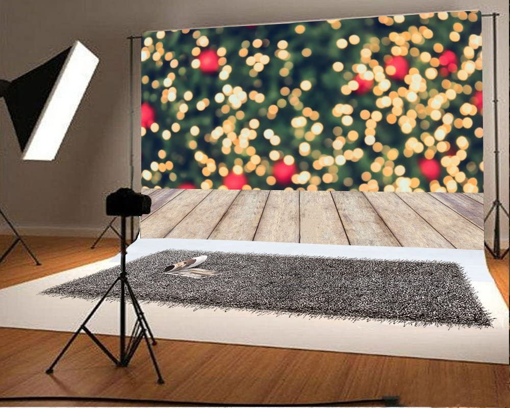 10x6.5ft Bokeh Backdrop Red Glitter Sequins Golden Spots Rustic Stripes Wood Plank Christmas Photography Backgrounds Children Adults Photo Backdrop Studio