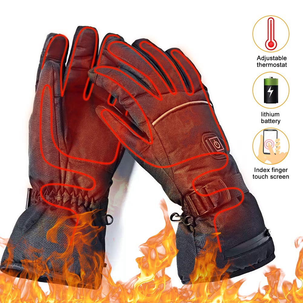 upstartech Heated Gloves for Men Women Rechargeable Upgraded Electric Heated Gloves with 3 Levels Temperature Control Touchscreen Hand Warmer Gloves for Skiing Fishing Hiking Camping by upstartech