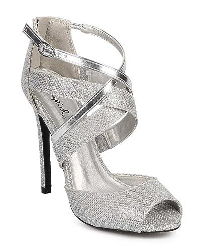 c959166f018 Women Glitter Peep Toe Criss Cross Stiletto Heel Sandal DF93 - Silver  (Size  8.0