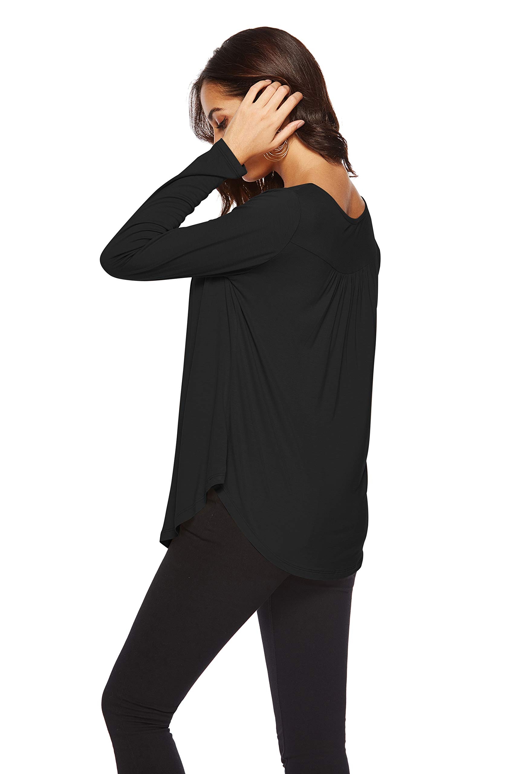 Eanklosco Womens Tops V Neck T-Shirts Swing Ruffle Blouses Button up Tunic Casual Flowy Long Sleeve (Black, XL)