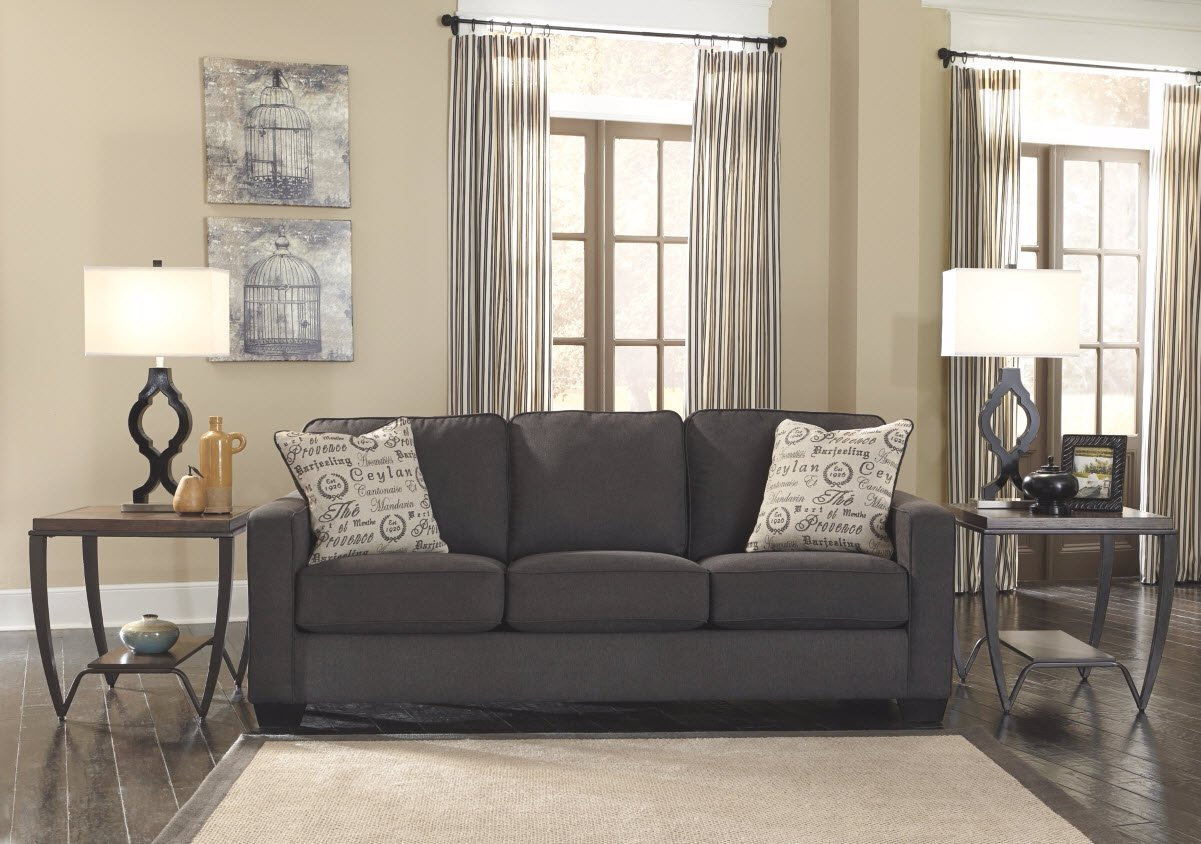 Ashley Furniture Signature Design - Alenya Sofa with 2 Throw Pillows - Microfiber Upholstery - Vintage Casual - Charcoal