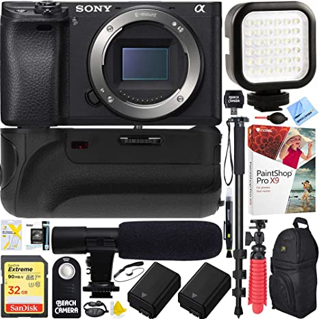 Sony a6500 4K Mirrorless Camera Body Black Bundle with 32GB Memory Card,  Camera Backpack, Shotgun Microphone, Rechargeable LED Light, Power Grip and