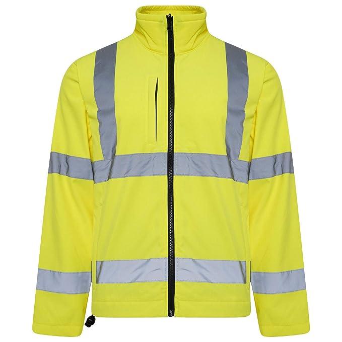 14ae973176c4 Hi Viz VIS High Visibility Hi Viz Softshell Jacket Reflective Tape  Weatherproof Work Coat High Vis Safety Workwear Security Road Works   Amazon.co.uk  ...