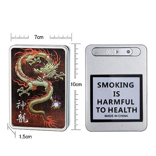 Zigarettenanznder USB Case Zigarette Box Elektronische Flammenlose  Wiederaufladbar Winddicht Feuerzeuge Halten Kann 16 Zigarette Rauch    Dragon Usb Lighter: ...