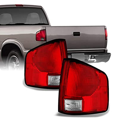 For Chevy S10 Pickup S-15 Somona Izusu Hombre Red Clear Tail Lights Brake Lamps Replacement Left + Right: Automotive